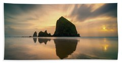Cloudy Sunset At Cannon Beach Hand Towel