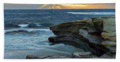 Cloudy Sunset At La Jolla Shores Beach Hand Towel