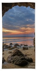 Cloudy Sunset At Low Tide Bath Towel