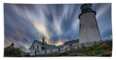 Cloudy Sunset At Pemaquid Point Hand Towel