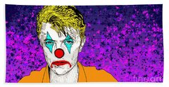 Hand Towel featuring the drawing Clown David Bowie by Jason Tricktop Matthews