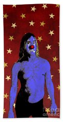 Bath Towel featuring the drawing Clown Iggy Pop by Jason Tricktop Matthews