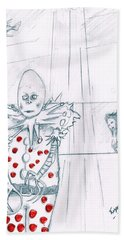 Clown With Crystal Ball And Mermaid Bath Towel by Dan Twyman