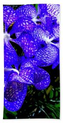 Cluster Of Electric Blue Vanda Orchids Bath Towel