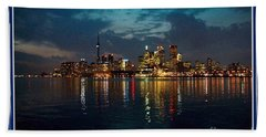 Cn  Tower And Toronto Down Town Water Front Beauty At Night Full Blast Photo Bath Towel