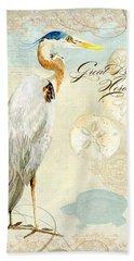 Coastal Waterways - Great Blue Heron 3 Bath Towel