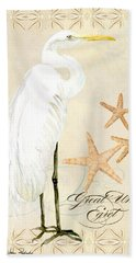 Coastal Waterways - Great White Egret Hand Towel