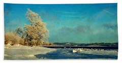 Coastal Winter Scene Bath Towel