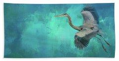 Coasting Blue Heron Bird Art Bath Towel by Jai Johnson