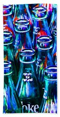Coca-cola Coke Bottles - Return For Refund - Painterly - Blue Hand Towel