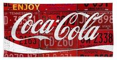Coca Cola Enjoy Soft Drink Soda Pop Beverage Vintage Logo Recycled License Plate Art Hand Towel