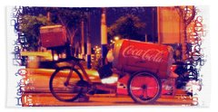 Hand Towel featuring the photograph Coca Cola Tricycle Bin - Lima by Mary Machare