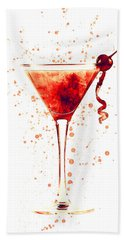 Cocktail Drinks Glass Watercolor Red Hand Towel