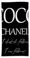 Coco Chanel Quote Bath Towel by Dan Sproul