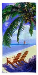 Hand Towel featuring the painting Coconut Palm by David  Van Hulst