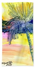 Hand Towel featuring the painting Coconut Palm Tree 3 by Marionette Taboniar