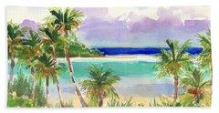 Coconut Palms And Lagoon, Aitutaki Hand Towel