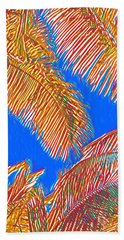 Coconut Palms In Red And Blue Hand Towel