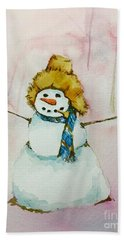 Hand Towel featuring the painting Cody's First Frosty by Lynn Babineau