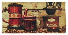 Coffee Bean Grinder Beside Old Pot Bath Towel