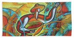 Hand Towel featuring the painting Coffee Bean Harvest by Leon Zernitsky