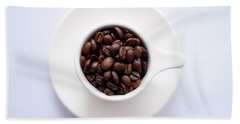 Coffee Beans Hand Towel by Happy Home Artistry