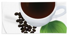 Coffee Cup On Saucer With Beans Hand Towel by Serena King