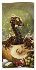 Hand Towel featuring the digital art Coffee Dragon by Stanley Morrison