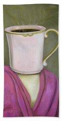 Coffee Head 2 Hand Towel by Leah Saulnier The Painting Maniac