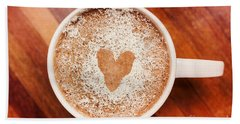 Coffee Love. White Coffee Cup On Wooden Background Bath Towel