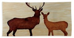Coffee Painting Deer Love Hand Towel