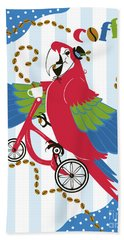 Coffee Parrot Hand Towel