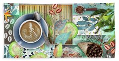 Coffee Shop Collage Bath Towel