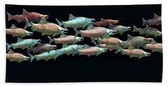 Coho Migration Hand Towel by Jeff Burgess