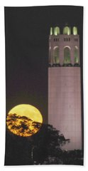 Coit Tower And Harvest Moon Hand Towel