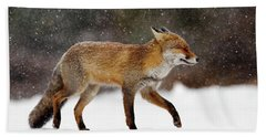 Cold As Ice - Red Fox In A Snow Blizzard Hand Towel by Roeselien Raimond