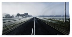 Cold Blue Winter Road Hand Towel