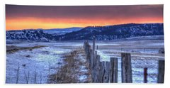 Cold Country Sunrise Bath Towel by Fiskr Larsen