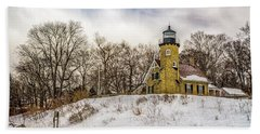 Bath Towel featuring the photograph Cold Day At White River Lighthouse by Nick Zelinsky