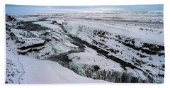 Cold Winter Day At Gullfoss, Iceland Hand Towel