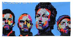 Coldplay Band Portrait Recycled License Plates Art On Blue Wood Hand Towel