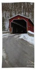 Colemansville Covered Bridge After Winter Snow Bath Towel
