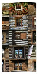Collage From Handmade Traditional Wooden  Windows In Village Museum Bucharest Bath Towel