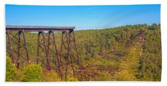 Collapsed Kinzua Railroad Bridge Bath Towel by Randy Steele