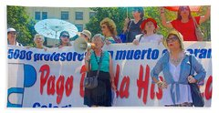 College Professors Demonstrating For Backpay On Plaza De Constitucion In Santiago-chile Hand Towel