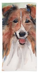 Collie, Shetland Sheepdog Hand Towel by Maria's Watercolor