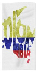 Colombia Typographic Map Flag Bath Towel