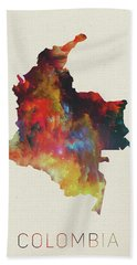 Colombia Watercolor Map Hand Towel