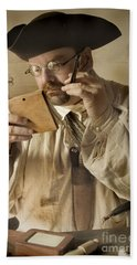 Hand Towel featuring the photograph Colonial Man Shaving by Kim Henderson