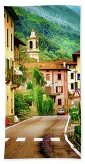 Hand Towel featuring the digital art Colonno.lake Como by Jennie Breeze